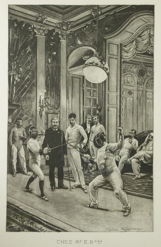 Chez Monsieur Blanc, Artist Frédéric Régamey from A Travers les Salles d'Armes, Albert de Saint-Albin Paris, 1887.