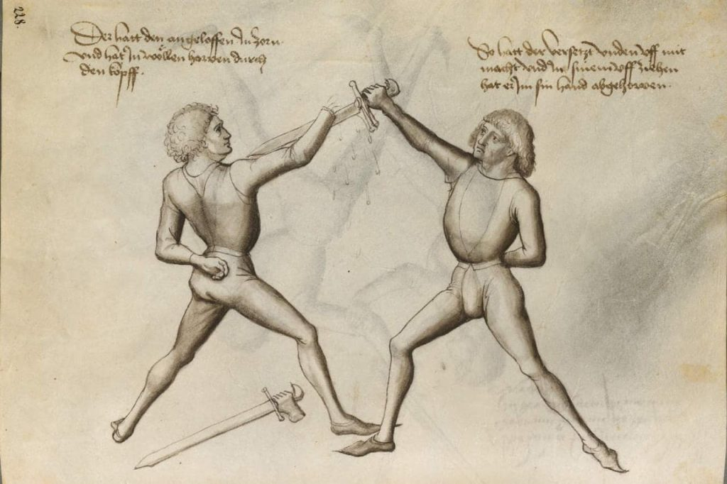 Hans Talhoffer fencer cutting hand of opponent